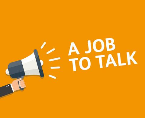 an image saying a job to talk