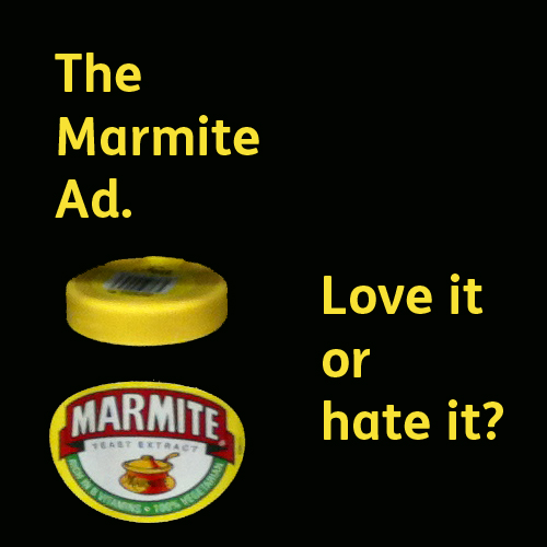 an image showing a jar of marmite and asking the question whether you love or hate the controversial marmite tv ad.