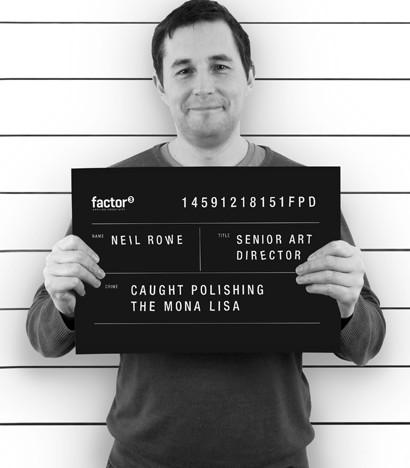 A mugshot of Neil Rowe, Factor 3's Art Director