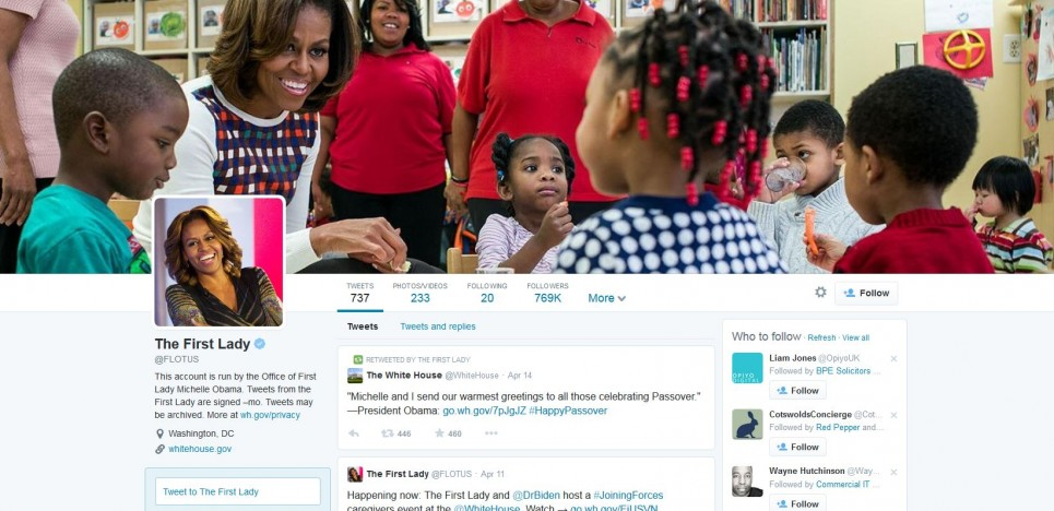 An image of the First Lady's Twitter profile using Twitter's new profile design