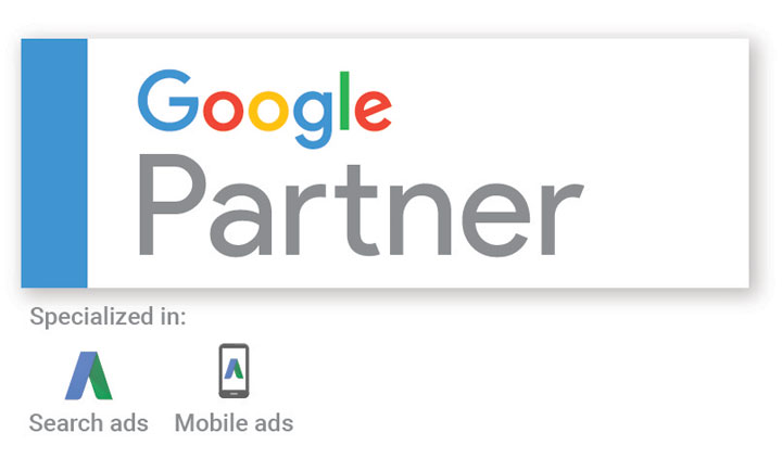 The google partner badge which says that Factor 3 is specialised in search ads and mobile ads