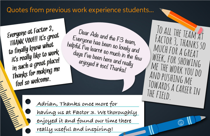 An image that shows Quotes from students that have enjoyed work experience at Factor 3 Communications