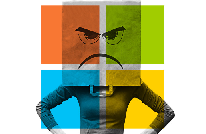 An image of an unhappy microsoft customer to accompany Factor 3's blog post called Dear Microsoft