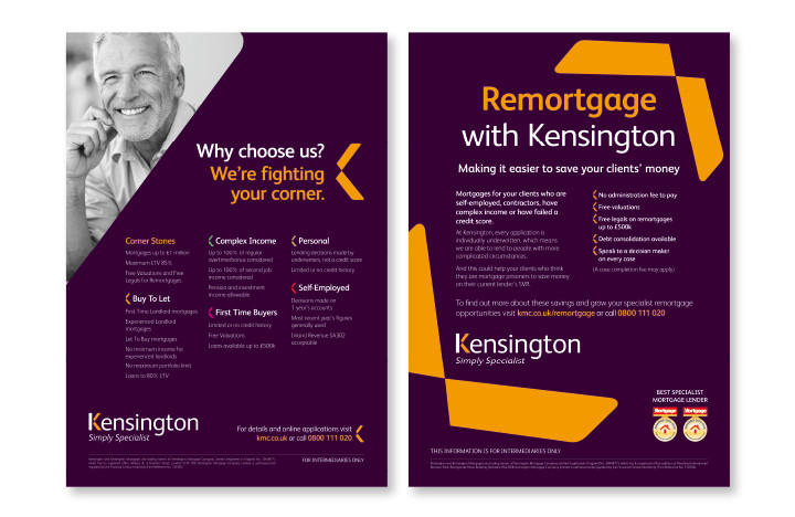 Financial services marketing example for Kensington Mortgages