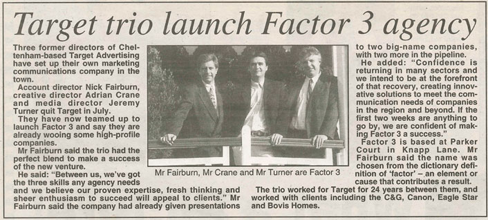 Newspaper clipping of Factor 3 launch story