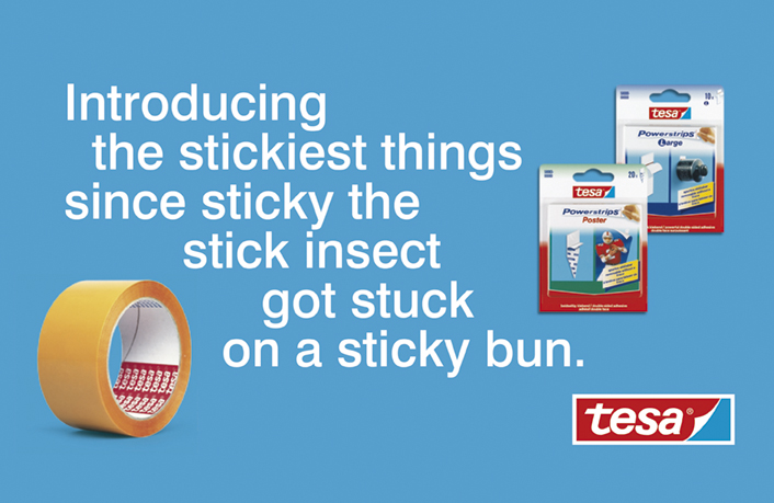 Ade's headline highlights: tesa - Introducing the stickiest things since sticky the stick insect got stuck on a sticky bun
