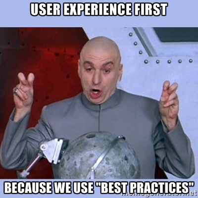 A UX strategy meme depicting Dr Evil saying