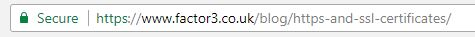 an example of the Https prefix within the address bar and the green padlock - both of which show that a ssl certificate is installed on the website
