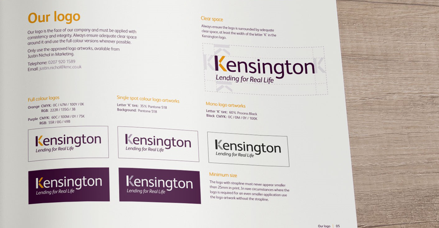 kensington brand guidelines show different versions of the logo and how they should be used