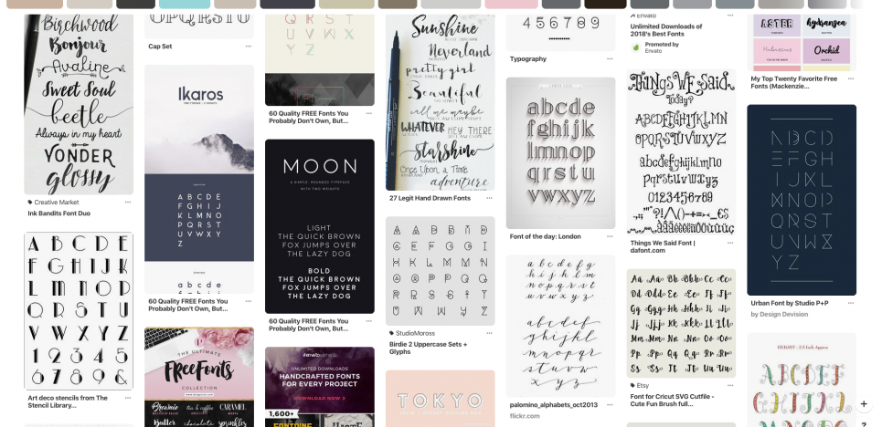 image showing Pinterest search result for fonts