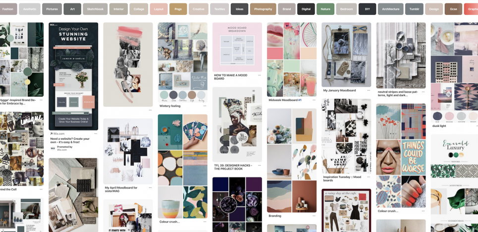 Pinterest search result for moodboards